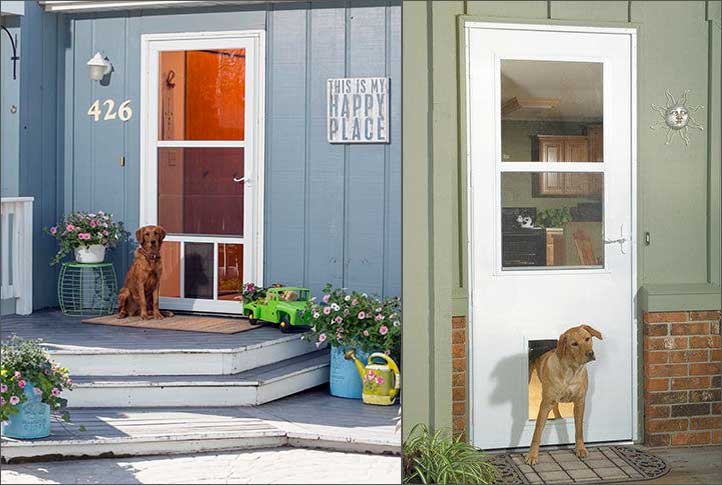 The factory installed pet door comes in two sizes to accommodate pets of all sizes. : larson doors headquarters - pezcame.com