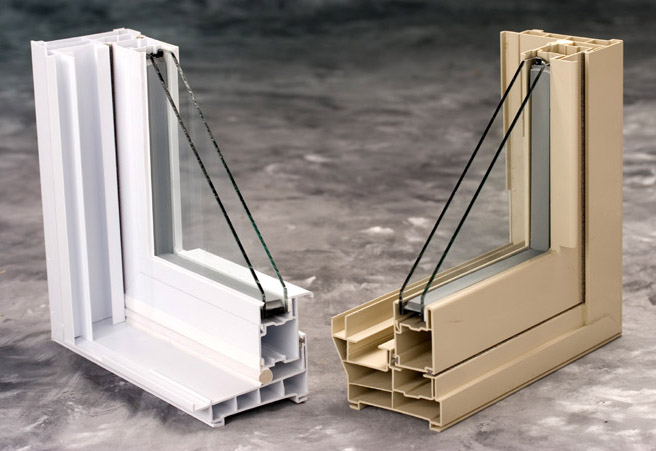Cutaway view of vinyl windows