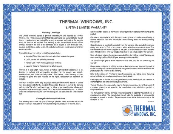 Thermal Barrier window warranty